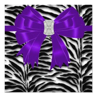 Purple and Black Zebra All Occasion Party 13 Cm X 13 Cm Square Invitation Card