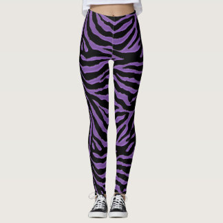Purple and Black Zebra Animal Print Leggings