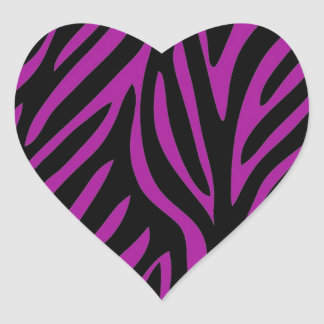 Purple and Black Zebra Print Heart Sticker