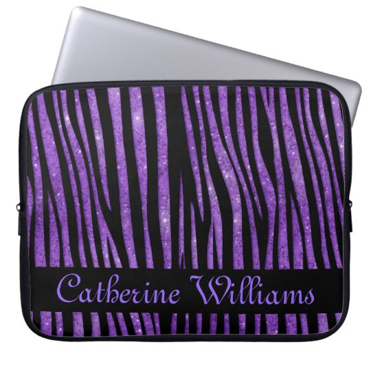 Purple and Black Zebra Skin Pattern on Glitter Laptop Sleeve