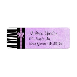 Purple and Black Zebra Striped Bow  Return Address Return Address Label
