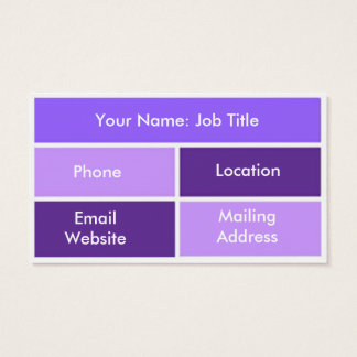 Purple and Blue Block Style Business Cards