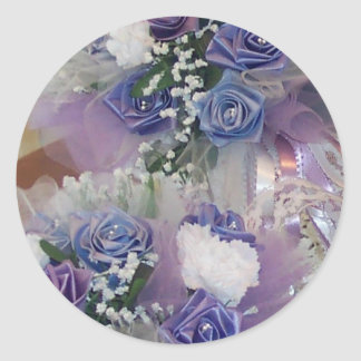 Purple And blue Bridal Flowers Classic Round Sticker
