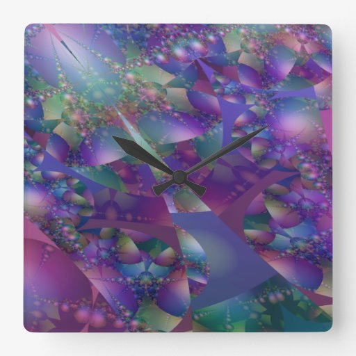 Purple and Blue Bubble Fractal Square Wall Clocks