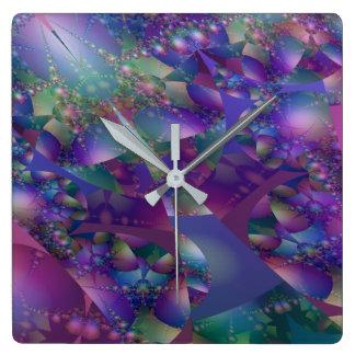 Purple and Blue Bubble Fractal Wallclock
