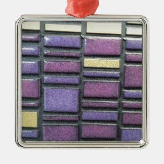 Purple and Blue Ceramic Tile Remix Metal Ornament