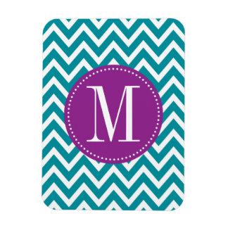 Purple and Blue Chevron Custom Monogram Magnet
