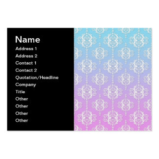 Purple and Blue Damask Pattern Pack Of Chubby Business Cards