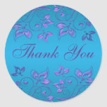 """Purple and Blue Floral 1.5"""" Round Thank You Round Stickers"""