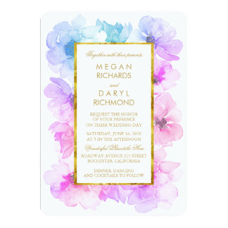 Purple and Blue Floral Gold Frame Wedding 13 Cm X 18 Cm Invitation Card