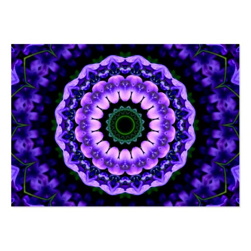 Purple and Blue Flower Kaleidoscope Mandala Business Card