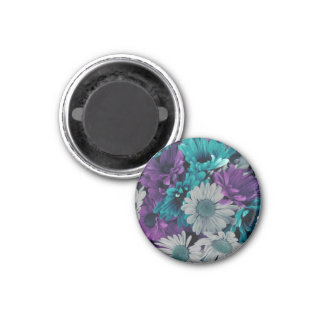 Purple and Blue Flower Smash 3 Cm Round Magnet
