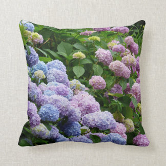 Purple and Blue Hydrangeas Throw Pillow