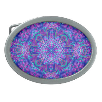 Purple And Blue Kaleidoscope  Belt Buckle