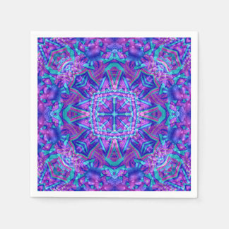 Purple And Blue Kaleidoscope    Paper Napkins Paper Napkin