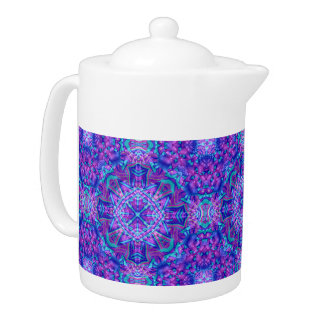 Purple And Blue Kaleidoscope     Pattern  Teapots