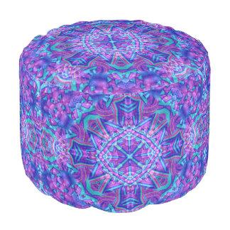 Purple And Blue Kaleidoscope Round Pouf