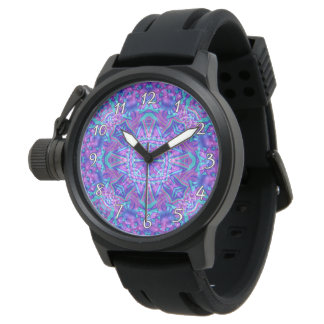 Purple And Blue Kaleidoscope Vintage Mens Watch