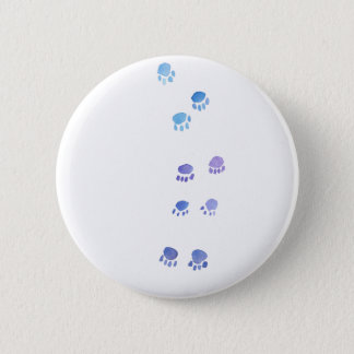 Purple and Blue Kitty Paw Prints 6 Cm Round Badge