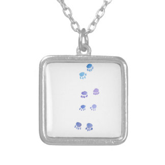 Purple and Blue Kitty Paw Prints Silver Plated Necklace