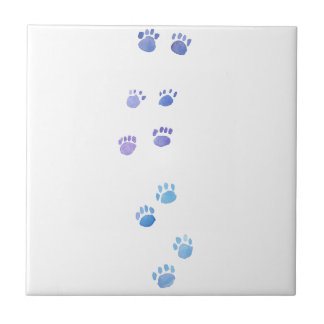 Purple and Blue Kitty Paw Prints Small Square Tile