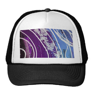 Purple and Blue Painted Abstract Art Hat