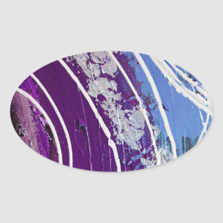 Purple and Blue Painted Abstract Art Oval Stickers