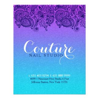 Purple And Blue Paisley Lace Nails Studio 11.5 Cm X 14 Cm Flyer