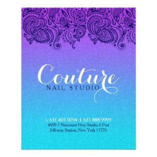 Purple And Blue Paisley Lace Nails Studio Flyer