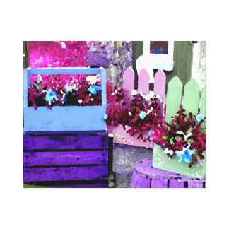 Purple and Blue Pansy on Flower Cart Gallery Wrapped Canvas
