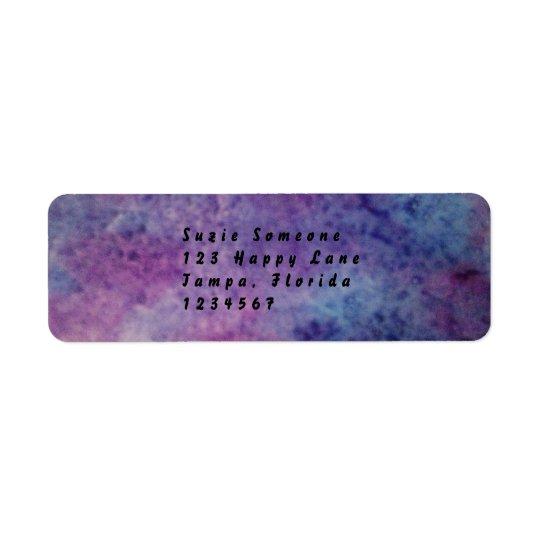purple and blue return address labels