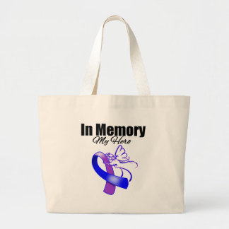 Purple and Blue Ribbon In Memory of My Hero Canvas Bag