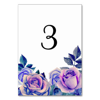 Purple and blue roses table number. Winter wedding Card