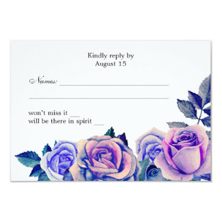 Purple and blue roses wedding rsvp Floral response Card