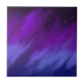 Purple and blue space mist. ceramic tile