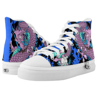 Purple and Blue Splash Dragon Tattoo Sneakers