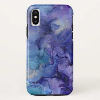 Purple and Blue Watercolor iPhone X Case