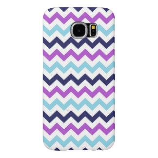 Purple and Blue Zig Zag Chevrons Pattern Samsung Galaxy S6 Cases