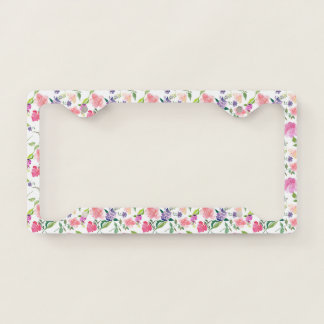 Purple And Blush Pink Watercolor Floral Pattern Licence Plate Frame