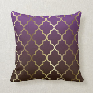 Purple and Brown Blend | Gold Quatrefoil Pattern Cushion