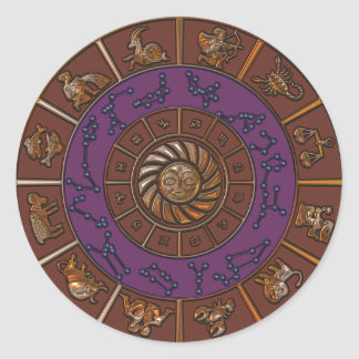 Purple and Brown Horoscope Zodiac Wheel Sticker