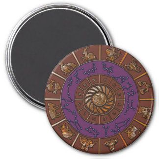Purple and Brown Zodiac Wheel Magnet
