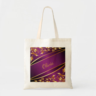 Purple and chic gold colored classic decor name tote bag