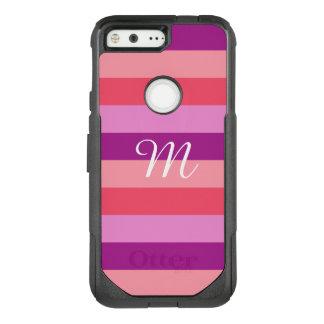 Purple and Coral Striped Monogram OtterBox Commuter Google Pixel Case
