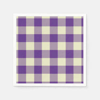 Purple and Cream Gingham Pattern Disposable Serviette