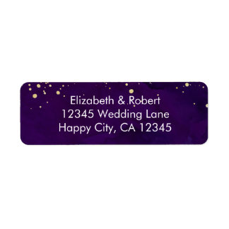 Purple and Faux Gold Glitter Return Address Label
