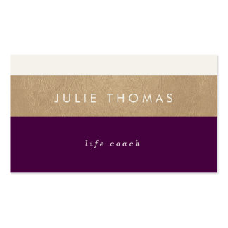 purple and faux gold leather pack of standard business cards