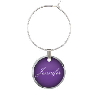 Purple and Faux Metallic Chrome Trim | Personalize Wine Charms