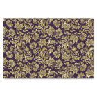 Purple And Faux Metallic Gold Floral Damasks Tissue Paper