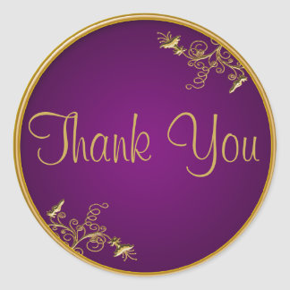 "Purple and Gold 1.5"" Diameter Thank You Sticker"